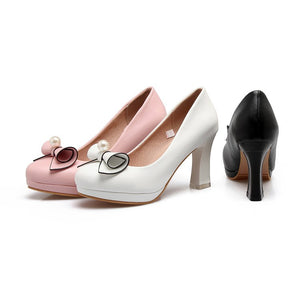 Bow Tie High Heel Shallow Mouth Women Pumps
