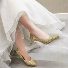 Load image into Gallery viewer, Sexy High Heel Color Matching Sequins Stiletto Pumps Wedding Shoes