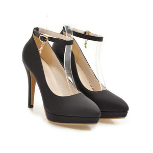 Stiletto Heel Ankle Strap Women Platform Pumps