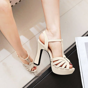 Women's Buckle Platform High Heels Chunky Heel Sandals