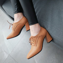 Load image into Gallery viewer, Lace Up Chunky Heels Oxford Shoes