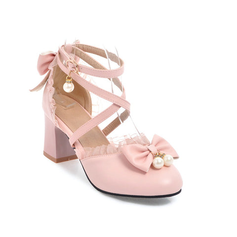 Cross Strap Bow High Heels Sandals Summer Shoes 5646