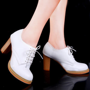 Lace Up High Heel Retro Round Head Women Shoes