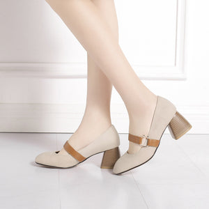Rough-heeled Shallow-mouth High Heels Pumps