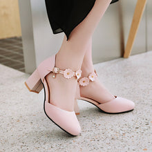 Load image into Gallery viewer, Women's Sweet Flower High Heel Flower Chunky Heel Sandals