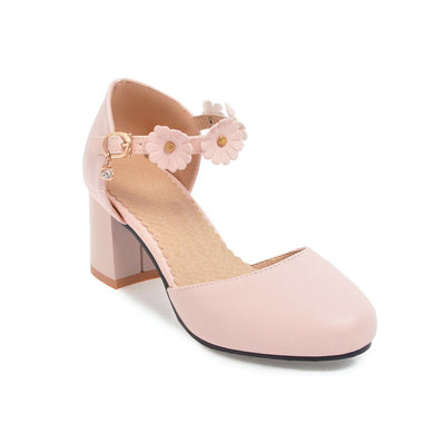 Women's Sweet Flower High Heel Flower Chunky Heel Sandals
