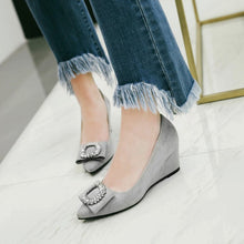 Load image into Gallery viewer, Pointed Toe Pumps Rhinestone Wedge Middle Heel Women Shoes