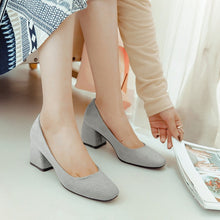 Load image into Gallery viewer, Leisure Square Head Middle Heels Shoe Women Chunky Pumps