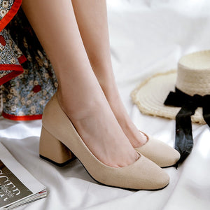 Leisure Square Head Middle Heels Shoe Women Chunky Pumps