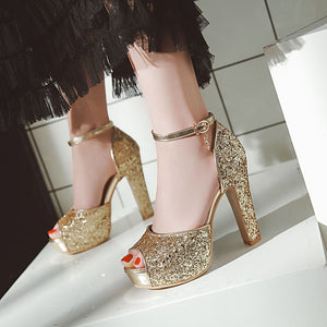 Women's Fish Mouth Thick Heel Super High Heel Sequin Sandals Wedding Shoes