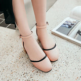 Ankle Strap Toe Covers Mid Heel Sandals Summer Shoes 4719