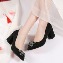 Load image into Gallery viewer, Rhinestone Flower High Heel Shallow Mouth Pointed Toe Bride Shoes