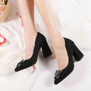 Rhinestone Flower High Heel Shallow Mouth Pointed Toe Bride Shoes