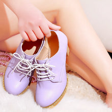 Load image into Gallery viewer, Lace Up High Heel Retro Round Head Women Shoes