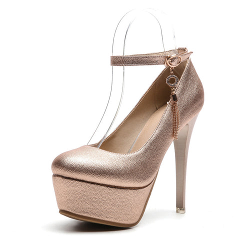 Ankle Strap High Heel Platform Pumps Club Shoes Woman 9243
