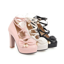 Load image into Gallery viewer, Sweet Bow Super High Heel Round Head Platform Pumps