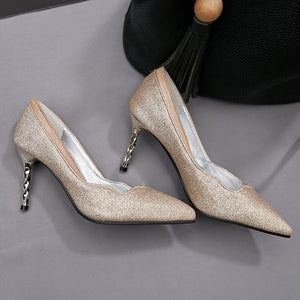 Pointed Shallow Mouth High Heels Sequins Bride Shoes Women Pumps
