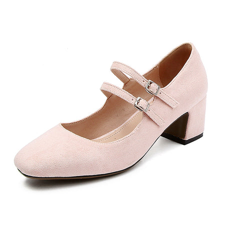 Buckle Mary Janes Mid Heel Pumps Shoes 3149