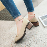 Ankle Strap Pearls Mid Heel Pumps Shoes 1048