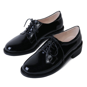 Leisure Genuine Leather Oxford Shoes Women Chunky Heels