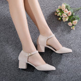 Ankle Strap Mid Heel Sandals Summer Shoes 4449