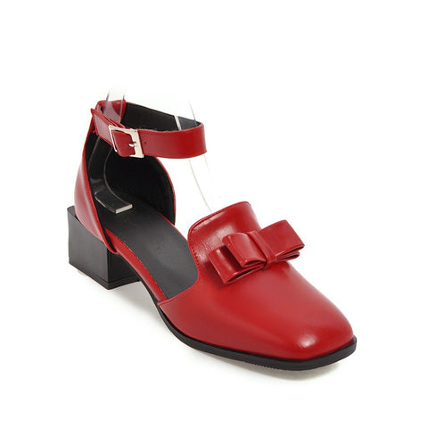 Ankle Strap Bow Tie Mid Heel Sandals Summer Shoes 8360