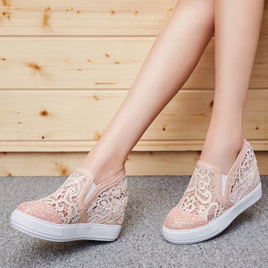 Hollow Out Sequined Wedge Platform Women Shoes