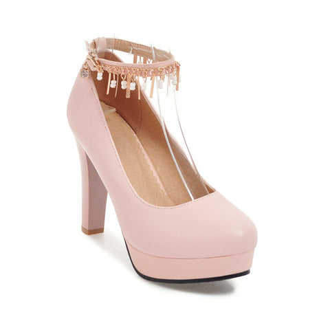 Chain Tassel High Heel Platform Pumps Shoes Woman 9467