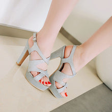 Load image into Gallery viewer, Women's Wedding Shoes Sequin High Heel Open Toe Chunky Sandals