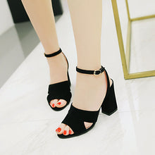 Load image into Gallery viewer, Women's High Heels Buckle Belt Roman Style Chunky Heel Sandals