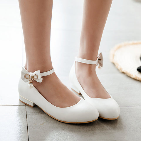 Ankle Strap Rhinestone Bowknot Mid Heel Pumps Shoes 8388