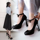 Ankle Strap Rhinestone Bow High Heel Platform Pumps Shoes Woman 9987