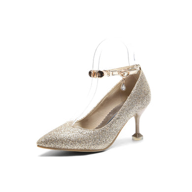 Women's Pointed High Heeled Sequin Bridal Shoes Pumps