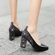 Load image into Gallery viewer, Sequined High Heel Wedding Shoes Block Pumps