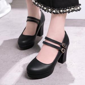Double Ankle Strap Platform Pumps High Heels