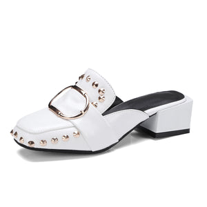 Square Head Covered Toe Women Loafers