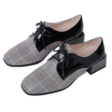 Load image into Gallery viewer, Genuine Leather Plaid Middle Heels Women Oxford Shoes