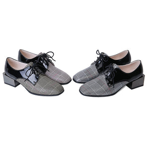 Genuine Leather Plaid Middle Heels Women Oxford Shoes