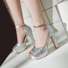 Load image into Gallery viewer, Women's Fish Mouth Thick Heel Super High Heel Sequin Sandals Wedding Shoes