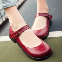 Load image into Gallery viewer, Girls Retro Round Head Middle School Flat Shoes