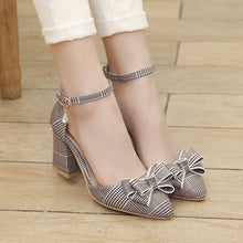 Load image into Gallery viewer, Women's High Heels Bow Tie Chunky Heel Sandals