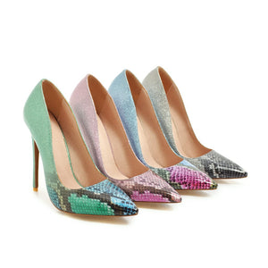 Super High Heel Serpentine Shallow Mouth Stiletto Pumps