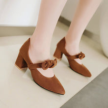 Load image into Gallery viewer, Pointed Toe Bow Chunky Heel Pumps