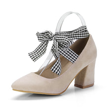 Load image into Gallery viewer, Strappy Plaid Chunky Heel Pumps