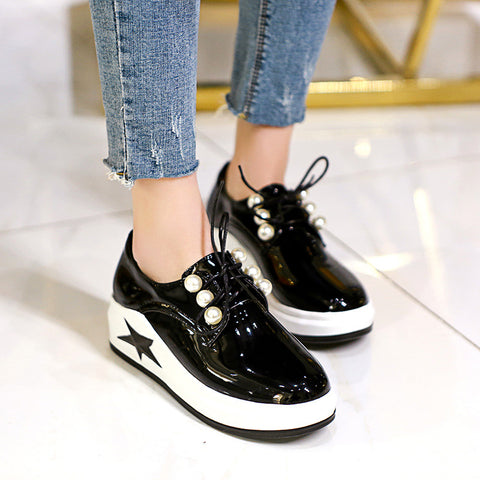 22816ae07d8c Genuine Leather Pearls Platform Wedges Sneakers Shoes for Women 8285