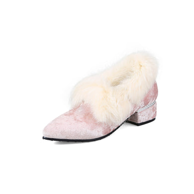 Pointed Toe Faux Fur Mid Chunky Heel Shoes 5143