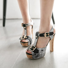 Load image into Gallery viewer, Peep Toe T Strap Flower Printed High Heels Platform Sandals Summer Shoes 3471
