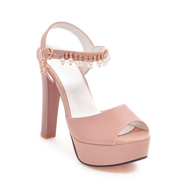 Women's High Heel Rhinestone Buckle Chunky Heel Sandals