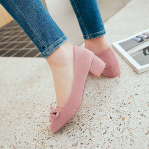 Leisure Style with Rough Heel Square Head Shallow Mouth Women Chunky Pumps