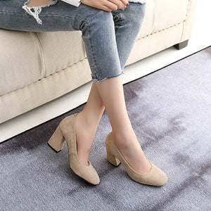 Super Fiber High Heel Bride Shoes Block Heel Pumps